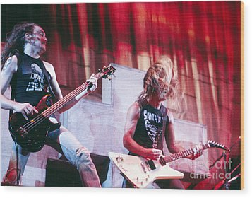 Metallica 1986 Cliff And James Wood Print by Chris Walter