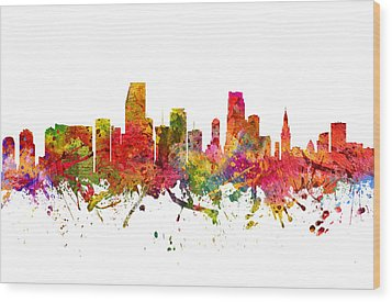 Miami Cityscape 08 Wood Print by Aged Pixel