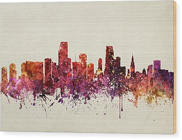 Miami Cityscape 09 Wood Print by Aged Pixel