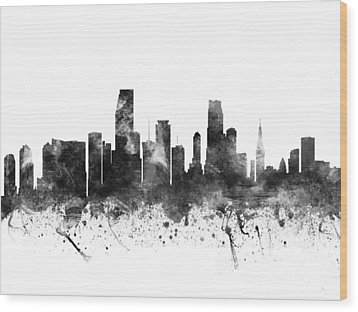 Miami Florida Cityscape 02bw Wood Print by Aged Pixel