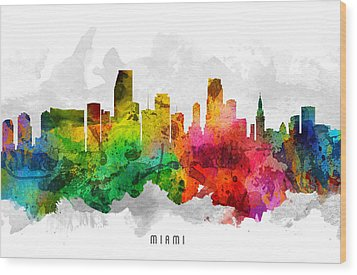 Miami Florida Cityscape 12 Wood Print by Aged Pixel
