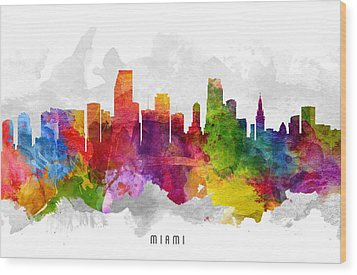 Miami Florida Cityscape 13 Wood Print by Aged Pixel