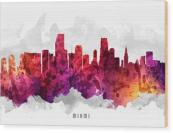 Miami Florida Cityscape 14 Wood Print by Aged Pixel