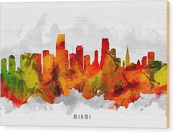 Miami Florida Cityscape 15 Wood Print by Aged Pixel