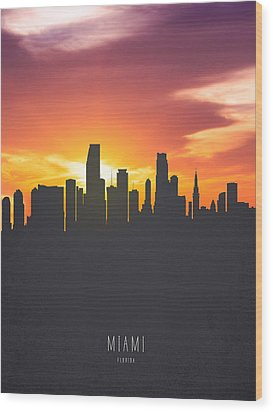 Miami Florida Sunset Skyline 01 Wood Print by Aged Pixel