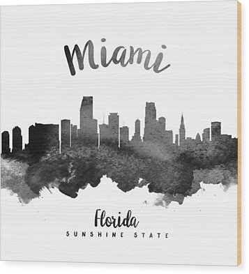 Miami Florida Skyline 18 Wood Print by Aged Pixel