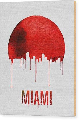 Miami Skyline Red Wood Print by Naxart Studio