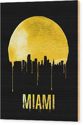 Miami Skyline Yellow Wood Print by Naxart Studio