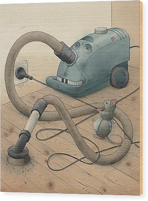 Mice And Monster Wood Print by Kestutis Kasparavicius