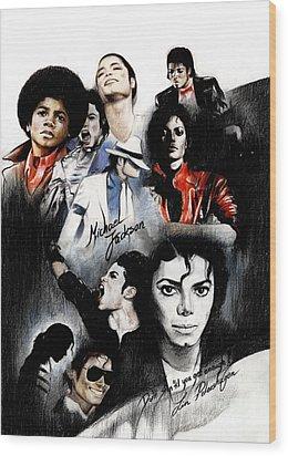 Michael Jackson - King Of Pop Wood Print by Lin Petershagen