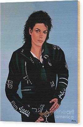 Michael Jackson Bad Wood Print by Paul Meijering