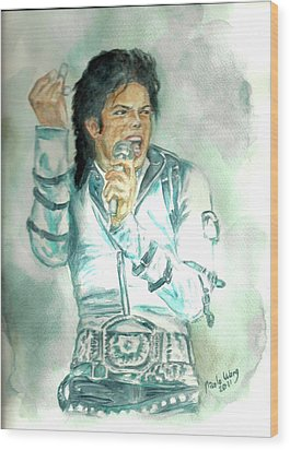 Michael Jackson Bad Tour Wood Print by Nicole Wang