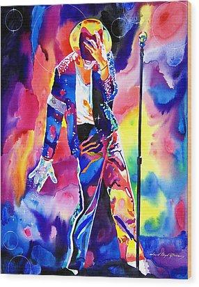 Michael Jackson Sparkle Wood Print by David Lloyd Glover