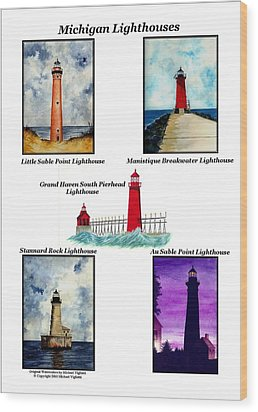 Michigan Lighthouses Collage Wood Print by Michael Vigliotti