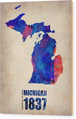 Michigan Watercolor Map Wood Print by Naxart Studio