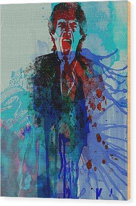 Mick Jagger Wood Print by Naxart Studio