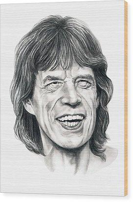 Mick Jagger Wood Print by Murphy Elliott