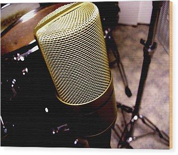 Microphone Wood Print by Michael Grubb
