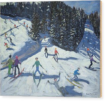 Mid-morning On The Piste Wood Print by Andrew Macara