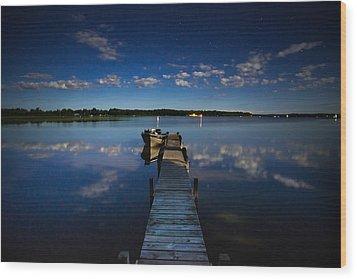 Midnight At Shady Shore On Moose Lake Minnesota Wood Print by Alex Blondeau