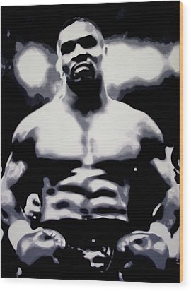 Mike Tyson Wood Print by Luis Ludzska