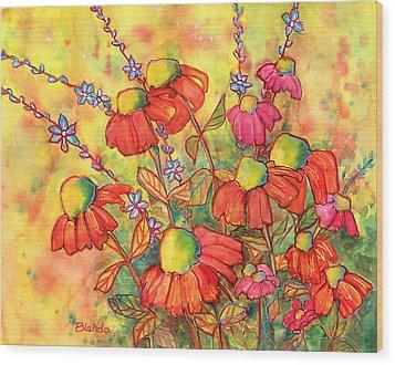 Mimosa Sky Flowers Wood Print by Blenda Studio