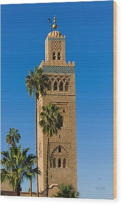Minaret Of The Koutoubia Mosque, Marrakesh Wood Print by Nico Tondini