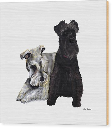 Mini Schnauzer Buddies Wood Print by Kim Souza