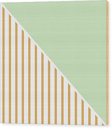 Mint And Gold Geometric Wood Print by Linda Woods