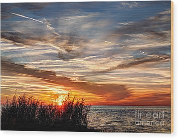 Mississippi Gulf Coast Sunset Wood Print by Joan McCool