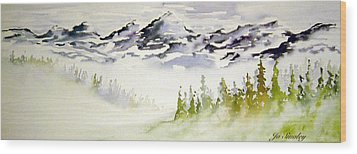 Mist In The Mountains Wood Print by Joanne Smoley