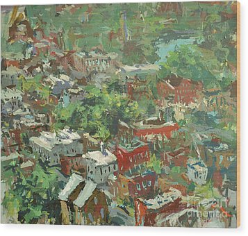 Modern Cityscape Painting Featuring Downtown Richmond Virginia Wood Print by Robert Joyner