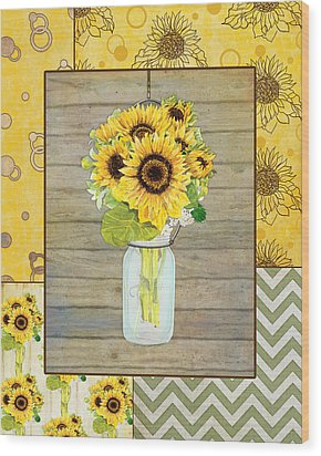 Modern Rustic Country Sunflowers In Mason Jar Wood Print by Audrey Jeanne Roberts