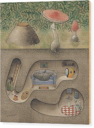Mole Wood Print by Kestutis Kasparavicius