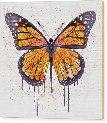 Monarch Butterfly Watercolor Wood Print by Marian Voicu