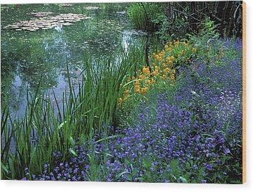 Monet's Lily Pond Wood Print by Kathy Yates