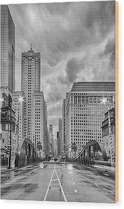 Monochrome Image Of The Marshall Suloway And Lasalle Street Canyon Over Chicago River - Illinois Wood Print by Silvio Ligutti
