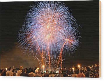 Montreal Fireworks Celebration  Wood Print by Pierre Leclerc Photography