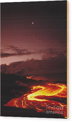 Moon Over Lava At Dawn Wood Print by Peter French - Printscapes