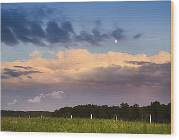 Moon Rise Over Country Fields Sunset Landscape Wood Print by Christina Rollo