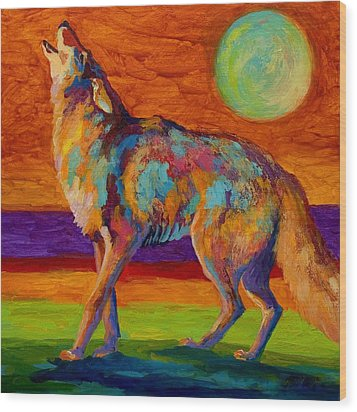 Moon Talk - Coyote Wood Print by Marion Rose