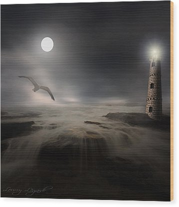 Moonlight Lighthouse Wood Print by Lourry Legarde
