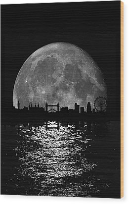 Moonlight London Skyline Wood Print by Mark Rogan