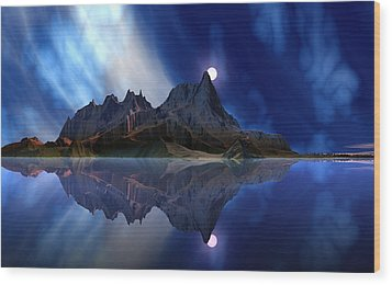 Moonrise Accension Island. Wood Print by David Jackson