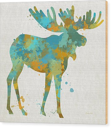 Moose Watercolor Art Wood Print by Christina Rollo