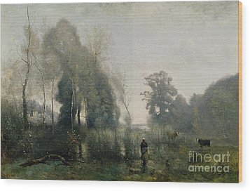Morning At Ville Davray Wood Print by Jean Baptiste Camille Corot