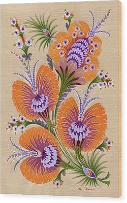 Morning Flowers Wood Print by Olena Kulyk