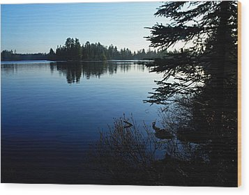 Morning On Chad Lake Wood Print by Larry Ricker