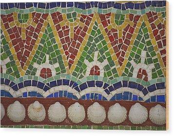 Mosaic Fountain Pattern Detail 4 Wood Print by Teresa Mucha