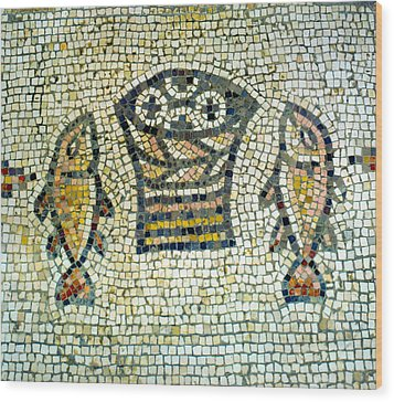 Mosaic Of Loaves And Fishes Wood Print by Daniel Blatt